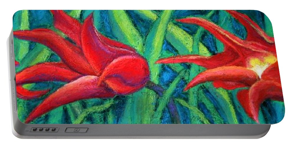 Tulips Portable Battery Charger featuring the painting Triple Tease Tulips by Minaz Jantz