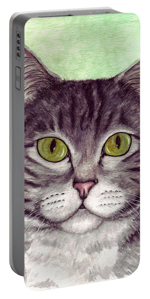 Cat Portable Battery Charger featuring the painting Tripper by Kristen Wesch