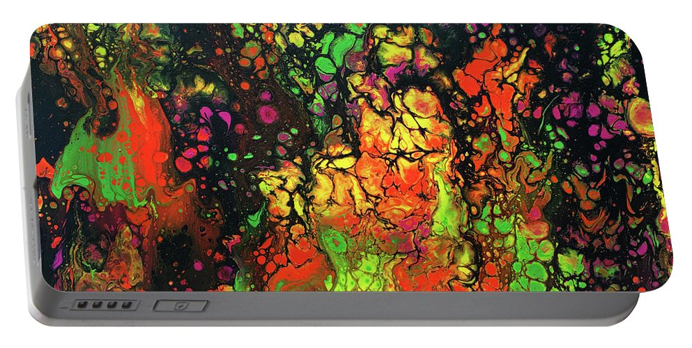 Abstract Acrylic Pour Portable Battery Charger featuring the painting Trippin' In The 70's #13 by Karen Chatham