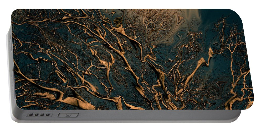 Trees Nature Abstract Digital Painting Portable Battery Charger featuring the photograph Trippy Tree by Linda Sannuti