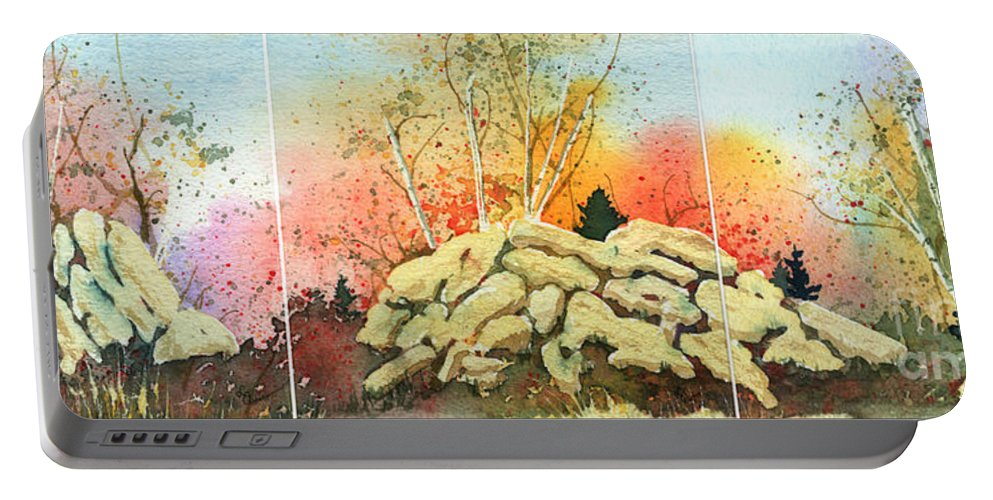 Landscape Portable Battery Charger featuring the painting Triptych by Lynn Quinn