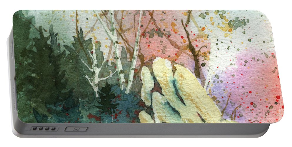 Landscape Portable Battery Charger featuring the painting Triptych Panel 1 by Lynn Quinn