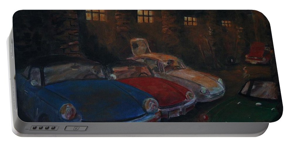 British Sports Cars Portable Battery Charger featuring the painting Triumph Garage by William Bezik
