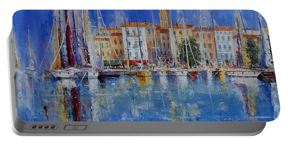 Ports Portable Battery Charger featuring the painting Trogir - Croatia by Miroslav Stojkovic - Miro