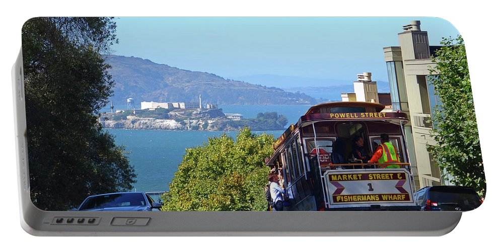 San Portable Battery Charger featuring the photograph Trolley Descending Into San Francisco by Toby McGuire