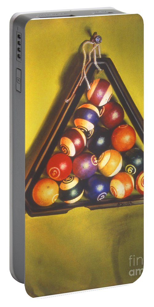 Pool Portable Battery Charger featuring the painting Billiard Balls Tromp'ole by Melissa A Benson