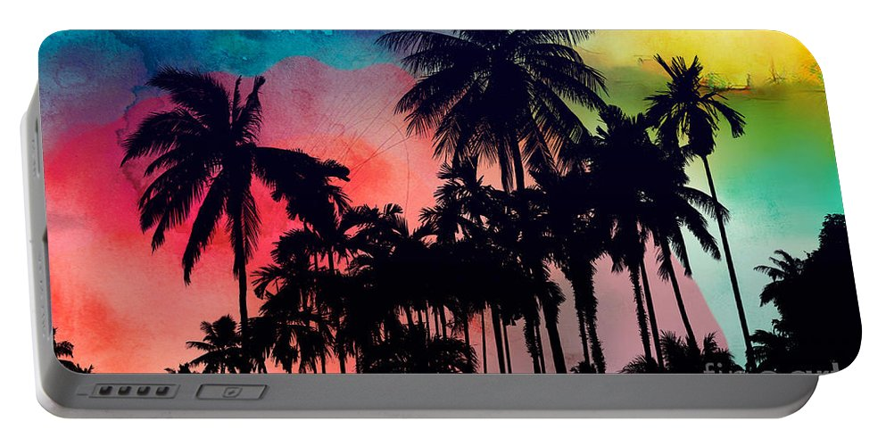 Portable Battery Charger featuring the painting Tropical Colors by Mark Ashkenazi