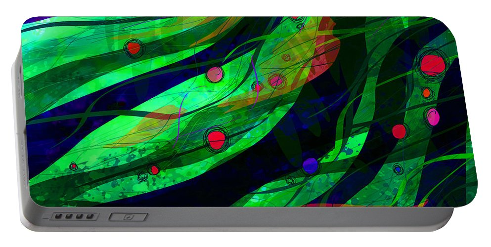 Abstract Portable Battery Charger featuring the digital art Tropical Dreams by Rachel Christine Nowicki