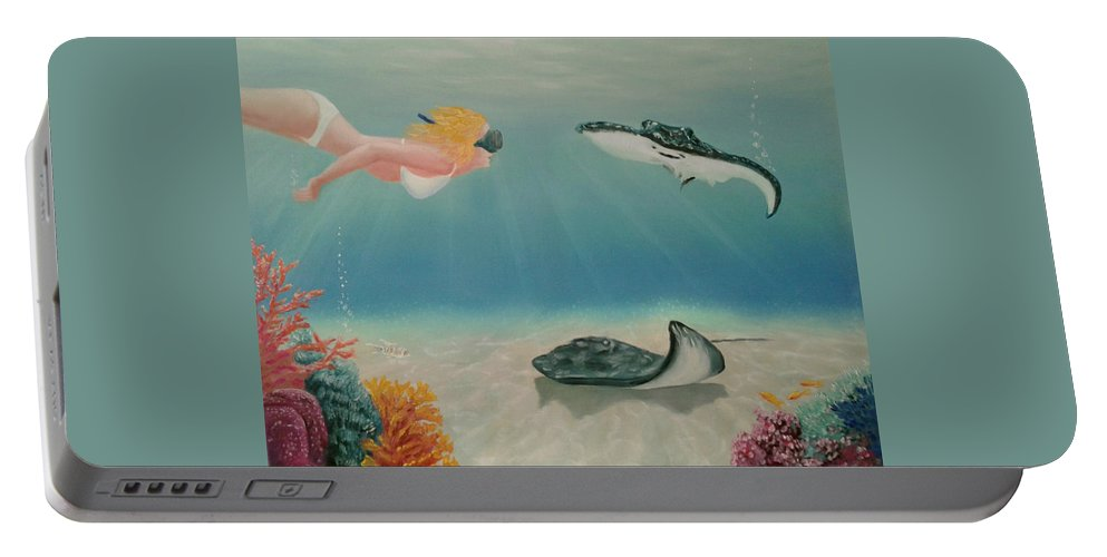 Tropical Encounter Summer Vacation Ocean Stingray Fish Sea Flour Underwater Portable Battery Charger featuring the painting Tropical Encounter by Michael Gutkin