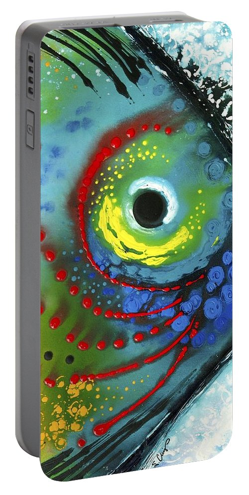 Animals Art Portable Battery Charger featuring the painting Tropical Fish by Sharon Cummings
