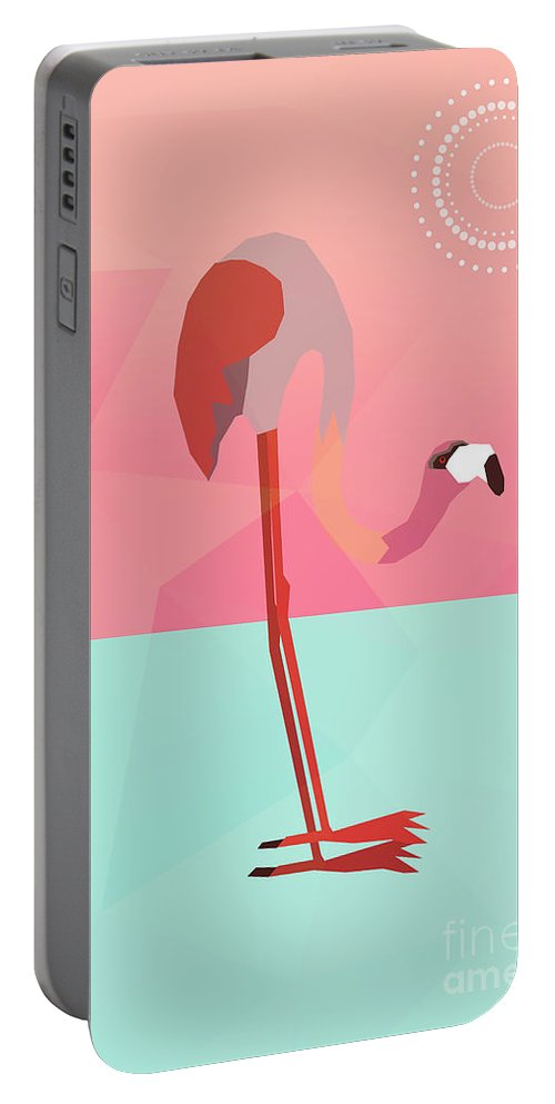Flamingo Portable Battery Charger featuring the digital art Tropical Flamingo by Mark Ashkenazi