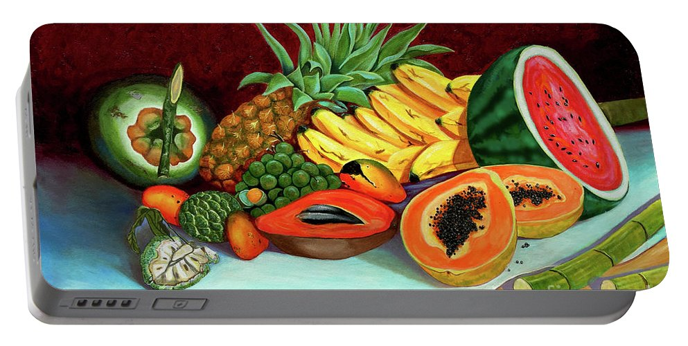 Coconut Portable Battery Charger featuring the painting Tropical Fruits by Jose Manuel Abraham
