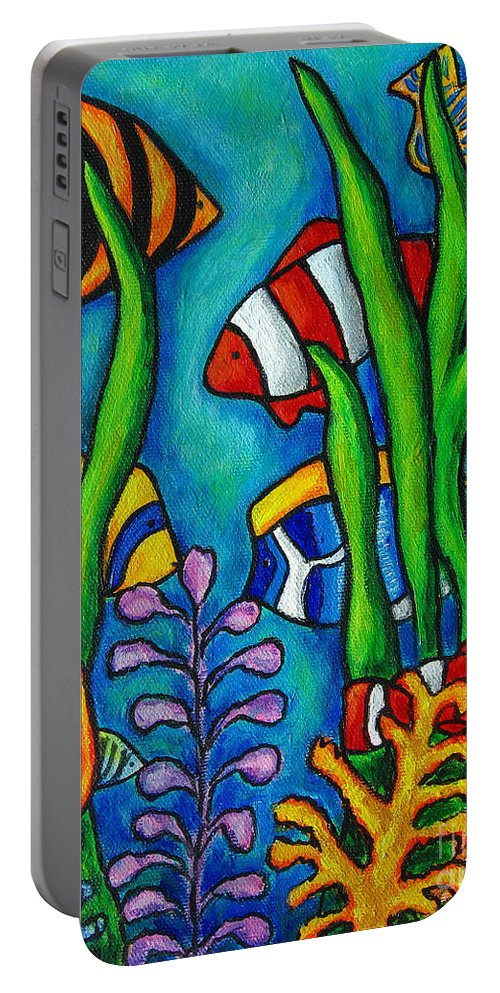 Tropical Portable Battery Charger featuring the painting Tropical Gems by Lisa Lorenz