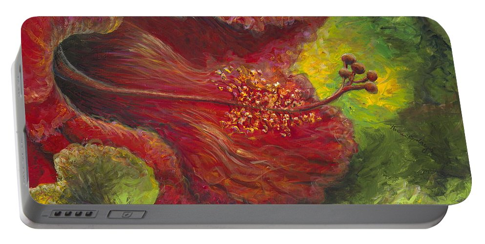 Flowers Portable Battery Charger featuring the painting Tropical Hibiscus by Nadine Rippelmeyer