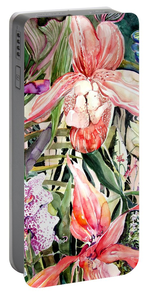 Watercolor Portable Battery Charger featuring the painting Tropical Orchids by Mindy Newman