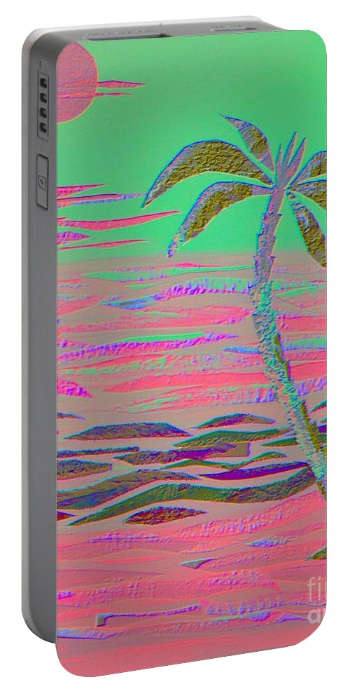 Tropical Portable Battery Charger featuring the mixed media Hot Pink Coconut Palm by Jean Clarke