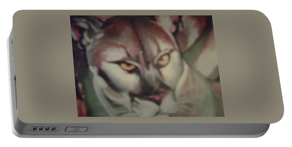 Tropical Panther Portable Battery Charger featuring the painting Tropical Panther by Sylvester Wofford