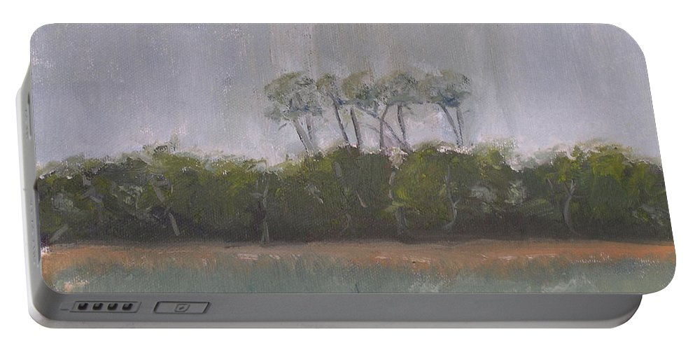 Landscape Beach Coast Tree Water Portable Battery Charger featuring the painting Tropical Storm by Patricia Caldwell