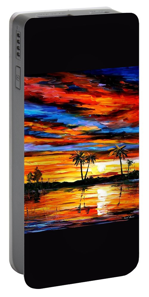 Afremov Portable Battery Charger featuring the painting Tropical Sunset by Leonid Afremov
