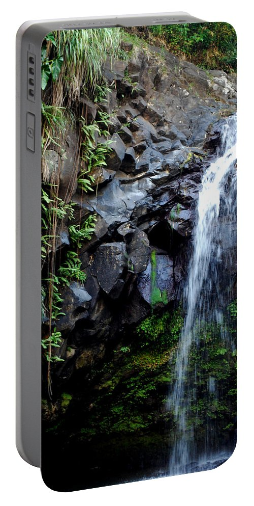 Waterfall Portable Battery Charger featuring the photograph Tropical Waterfall by Gary Wonning