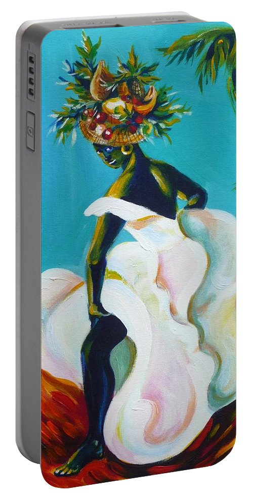Travel Portable Battery Charger featuring the painting Tropicana by Anna Duyunova