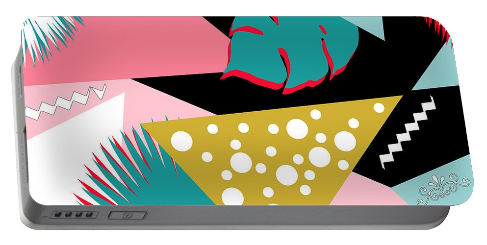 Summer Portable Battery Charger featuring the digital art Tropics Colors by Mark Ashkenazi