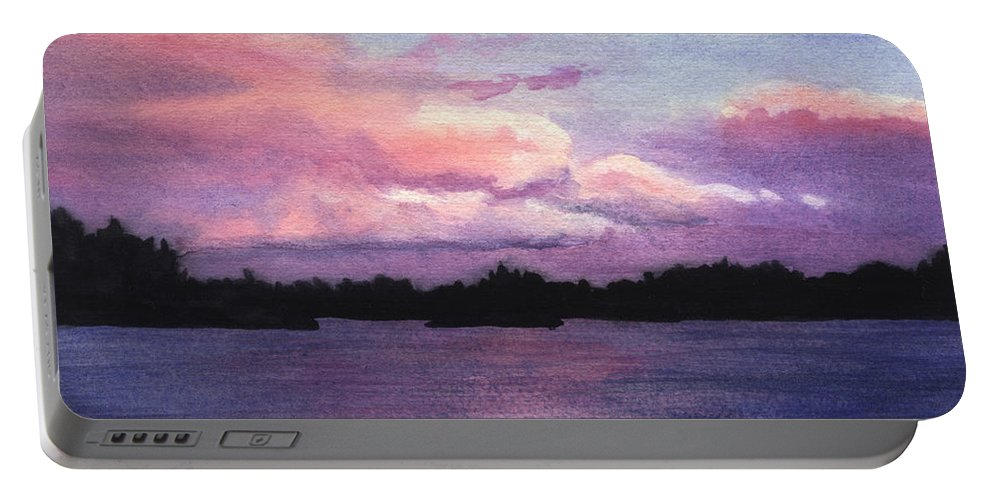 Landscape Portable Battery Charger featuring the painting Trout Lake Sunset I by Lynn Quinn