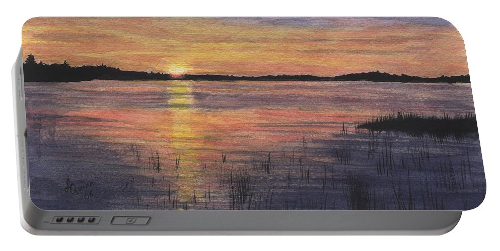 Landscape Portable Battery Charger featuring the painting Trout Lake Sunset II by Lynn Quinn
