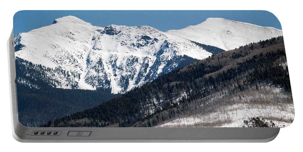 Roselynne Bowie Broussard Portable Battery Charger featuring the photograph Truchas Peak by Roselynne Broussard