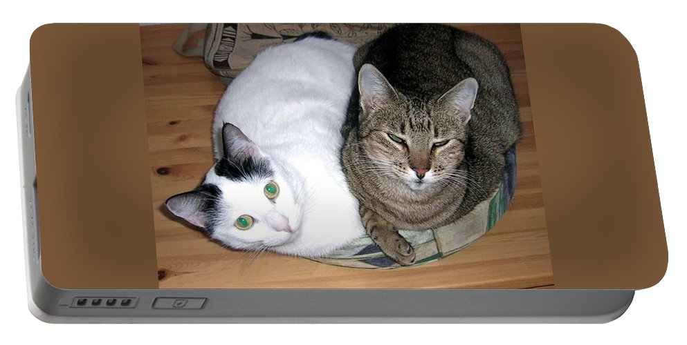 Cat Portable Battery Charger featuring the photograph True Love by Valerie Ornstein