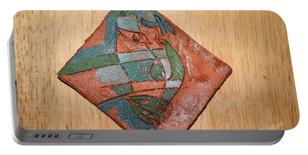 Jesus Portable Battery Charger featuring the ceramic art True Shepherd - Tile by Gloria Ssali