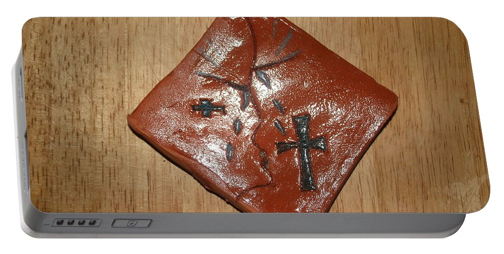 Jesus Portable Battery Charger featuring the ceramic art True Shepherd 20 - Tile by Gloria Ssali