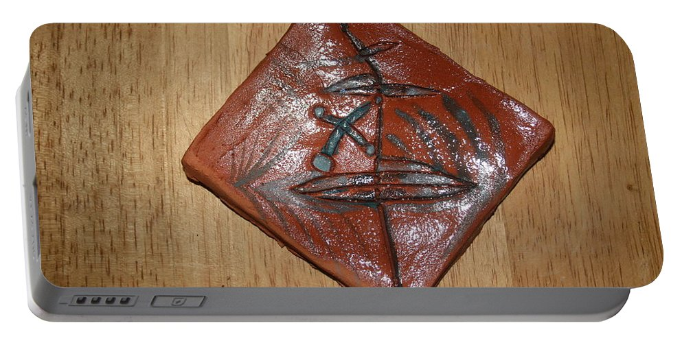 Jesus Portable Battery Charger featuring the ceramic art True Shepherd 21 - Tile by Gloria Ssali