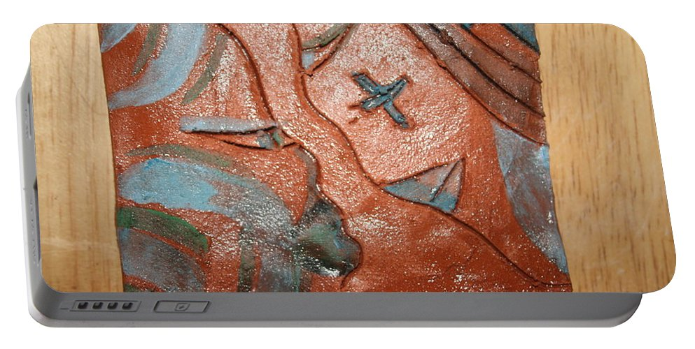 Jesus Portable Battery Charger featuring the ceramic art True Shepherd 27 - Tile by Gloria Ssali