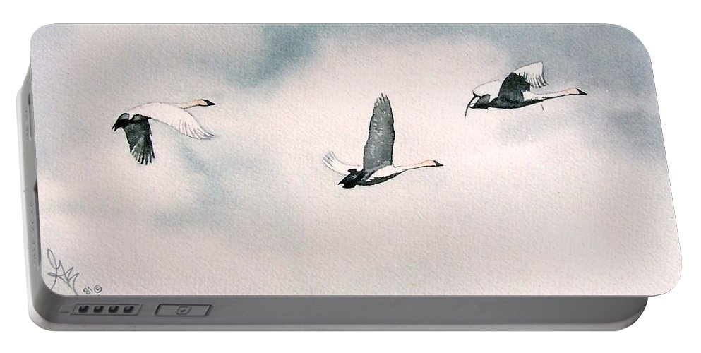 Swans Portable Battery Charger featuring the painting Trumpeters by Gale Cochran-Smith