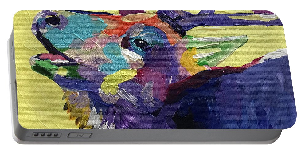 Abstract Portable Battery Charger featuring the painting Trumpeting by Kathi Schwan