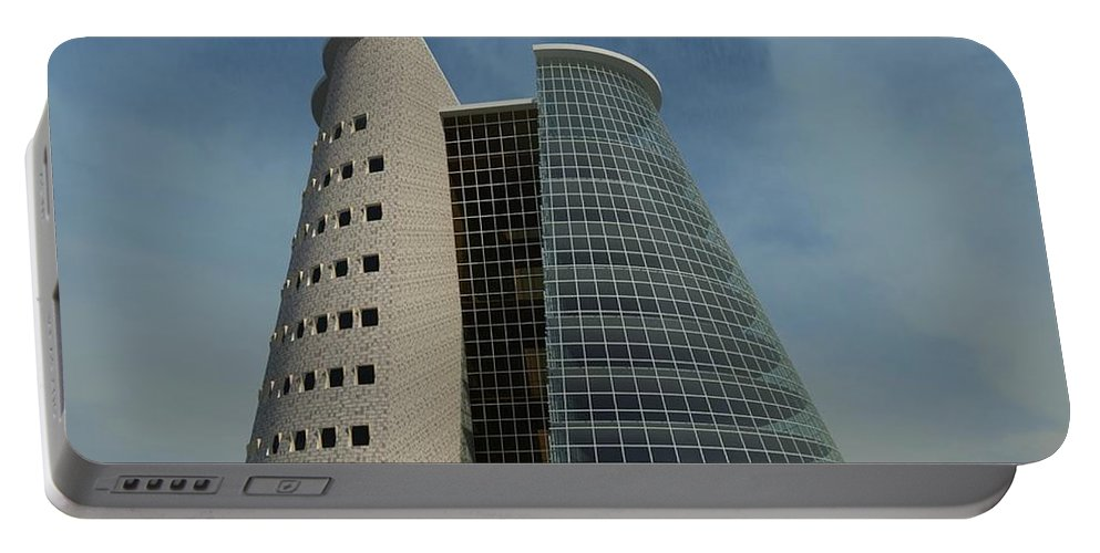 Building Rendering Portable Battery Charger featuring the digital art Truncated Building by Ron Bissett