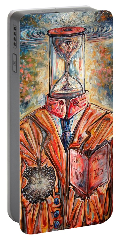 New Age Portable Battery Charger featuring the painting Truth Running Out Of Time by Darwin Leon