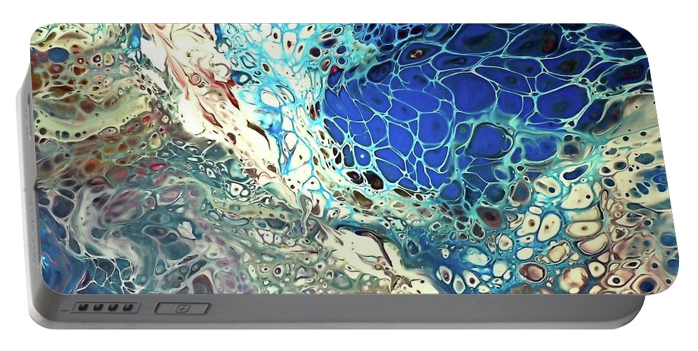 Abstract Portable Battery Charger featuring the painting Tsunami by Eileen Tascioglu