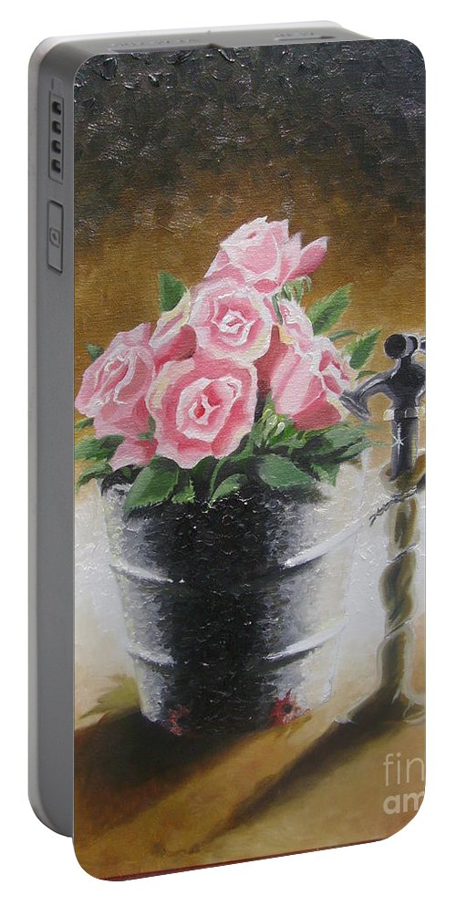 Flowers Portable Battery Charger featuring the painting Tub Of Roses by Chuck Collins