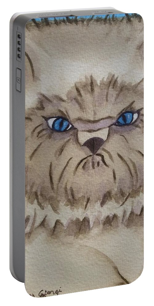 Cat Portable Battery Charger featuring the painting Tuffy by Colleen Giorgi