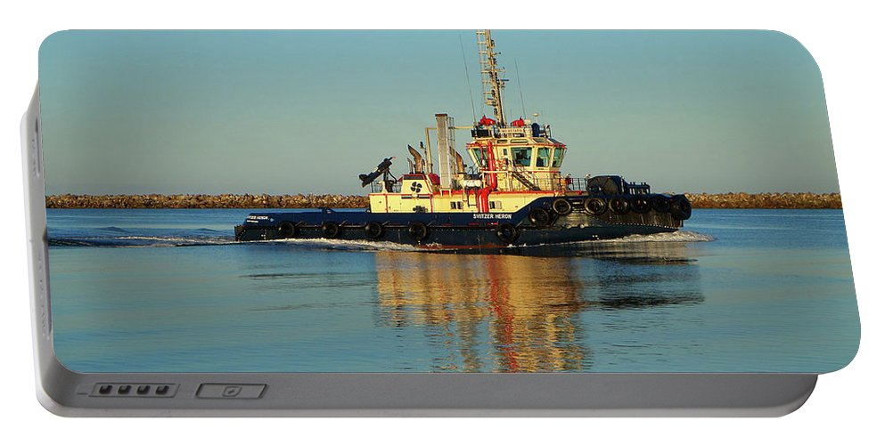 Tug Boat Portable Battery Charger featuring the photograph Tug Boat Reflections by Fran West