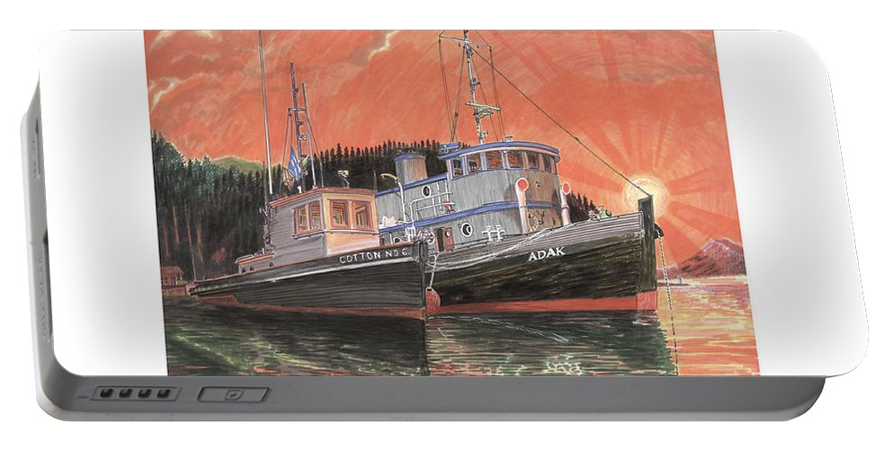 Tug Boats Anchored In Red Sky Portable Battery Charger featuring the painting Tug Boats Anchored In Red Sky by Jack Pumphrey
