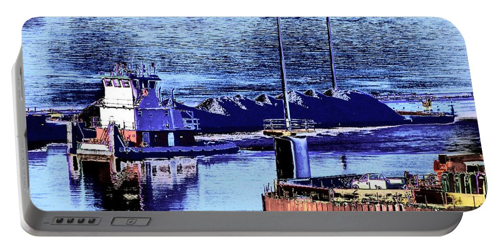 Abstract Portable Battery Charger featuring the photograph Tug Reflections by Rachel Christine Nowicki