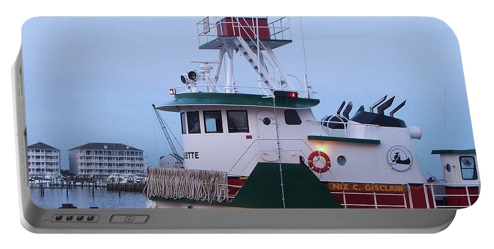 Tugboat Portable Battery Charger featuring the painting Tugboat At Twilight by Eric Schiabor