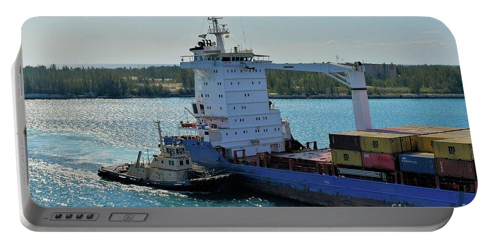 Tugboat Portable Battery Charger featuring the photograph Tugboat Helping Container Ship Out Of Harbor by Janette Boyd