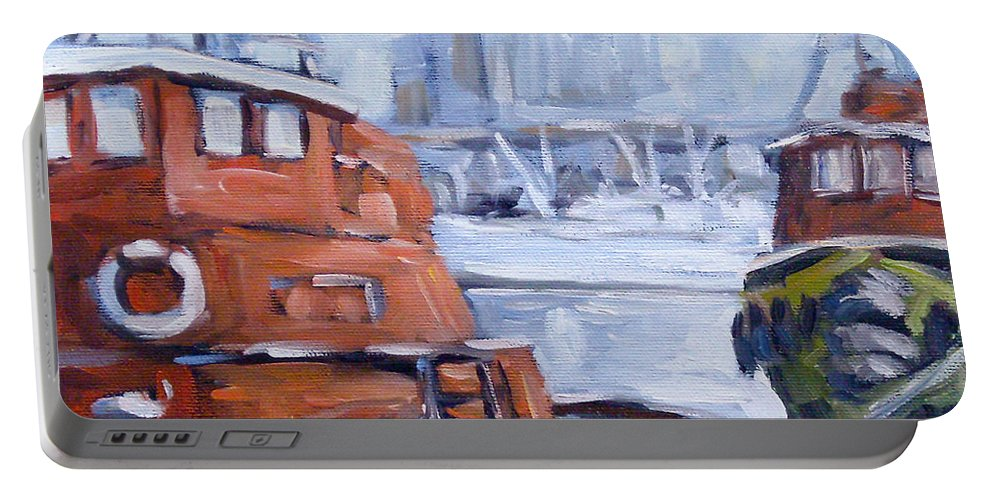 Cascade Portable Battery Charger featuring the painting Tugs In Harbour by Richard T Pranke