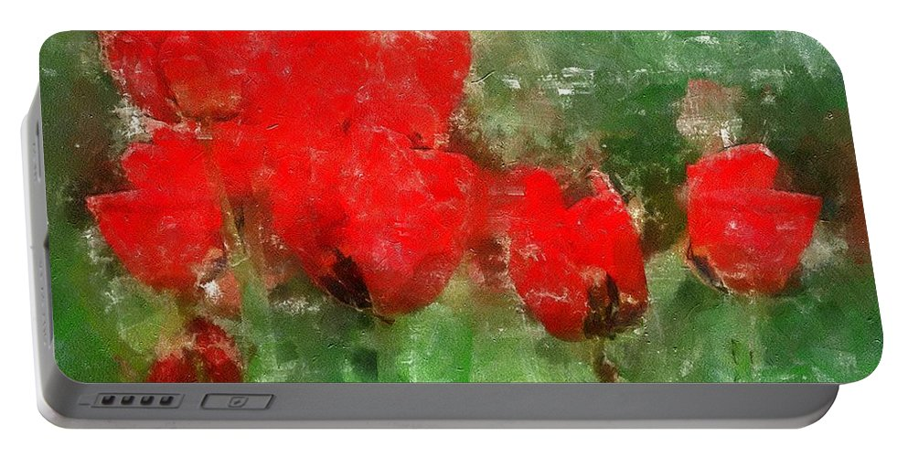 Flowers Portable Battery Charger featuring the painting Tulip Decay Deconstructed by RC DeWinter