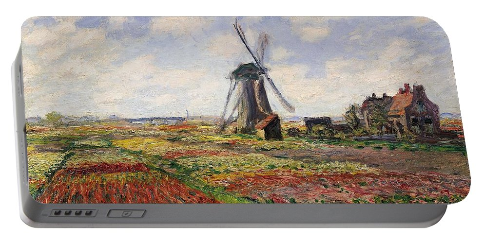 Claude Monet Portable Battery Charger featuring the painting Tulip Fields With The Rijnsburg Windmill by Claude Monet