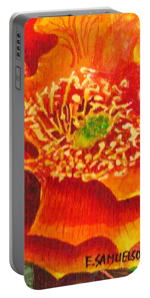Orange Portable Battery Charger featuring the painting Tulip Prickly Pear by Eric Samuelson